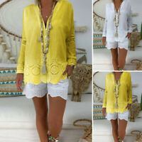 Women Bohemian Long Sleeve Lace Patchwork Top Casual Loose Shirt Blouse Pullover