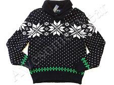 New Ralph Lauren Polo Black Cotton & Angora Blend Nordic Shawl Collar Sweater XL