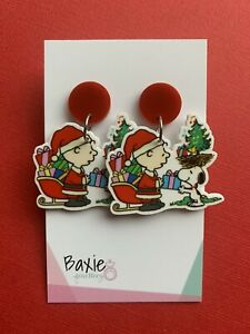 Christmas Earrings, Snoopy And Charlie Brown Style, Surgical Stud, Red Acrylic