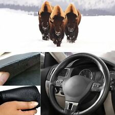 38cm / 15'' Leather Cover DIY Car Steering Wheel Cover w/ Needles and Thread