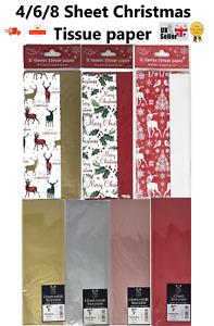 4/6/8 Sheet Luxury Christmas Tissue Paper 50x70 Xmas Gift Wrap Craft Acid Free