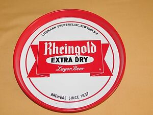 """VINTAGE BAR 12"""" LIEBMANN BREWERIES NY RHEINGOLD BEER METAL SERVING TRAY"""