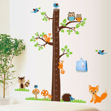 removable art home kids height chart measure decor wall sticker owl hedgehog AU.