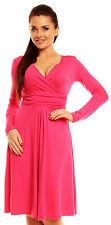 Zeta Ville - Women�€™s - Wrap V-neck Flare Dress Empire Line - Long Sleeves - 890z