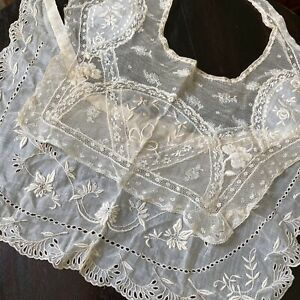 2 Antique Mixed Lace Floral Collars French Normandy Whitework Cotton Embroidery