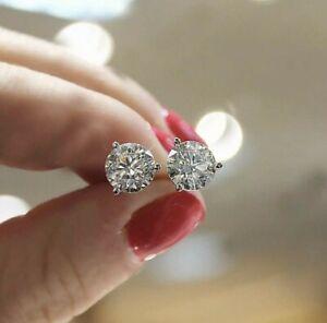 REAL 14K WHITE GOLD 2 CARAT DIAMOND ROUND CUT STUD POST SCREW BACK EARRINGS
