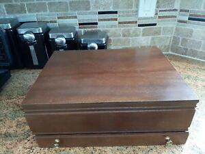 Vintage Flatware Silverware Anti-Tarnish  Wooden Storage Box Chest w/Drawer