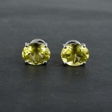 925 Sterling Silver Oval Lemon Quartz Gemstone Stud Earrings Jewelry for Girls