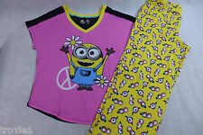 Womens Minion Pajamas Peace Sign Cotton Summer Despicable Me Top 1X Pant 2x New