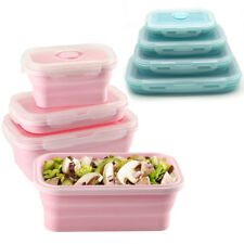 Silicone Collapsible Lunch Box Bento Boxes Food Storage Square Container 4 Sizes