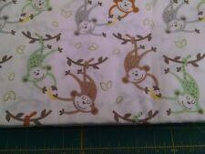 swinging monkeys allover 100% cotton fabric by half yard
