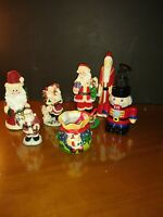 Lot Of 7 Santa Claus Figurines, Christmas Collectibles