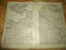 Old Maps FRANCE ~ NORTH EAST & NORTH WEST From The Universal Atlas 1893