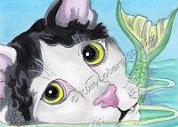 Selfie Mercat sea tuxedo Kitty cat Fish ACEO EBSQ Loberg ocean Fantasy Mini Art