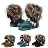 Fashion Ladies Womens Winter Warm Snow Ankle Boots Faux Rabbit Fur Tassel Shoes