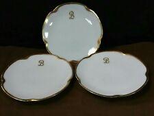"(3) Antique J & C Louise Bavaria Germany ""B"" Monogram Scalloped Gold Trim Plates"