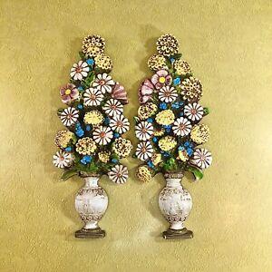 """Vintage 1970s 15"""" Flowers In Vase Ceramic Floral Wall Art, Wall Hangings."""