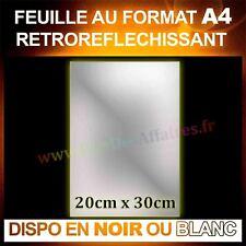 Feuille Vinyle autocollant rétro réfléchissant brillant Film 30x20 cm Noir Blanc