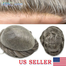 Invisible Ultra Thin Skin Vlooped Mens Toupee Hair System Replacement  All Color