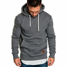 Men's Hoodies Slim Hooded Sweatshirt Outwear Sweater Coat Jacket GRAY Size L