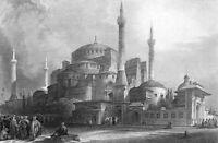 Istanbul HAGIA SOPHIA CHURCH MOSQUE, 1832 Architecture Art Print Engraving RARE!