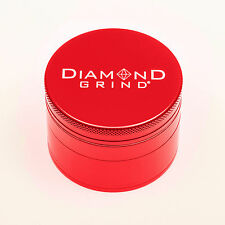 "CLASSIC DIAMOND GRIND 2.25"" Aluminum 4 piece herb Grinder w/screen 56mm RED"
