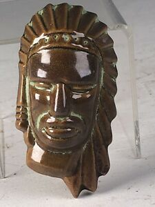 Frankoma Small Indian Head Mask In Coffee & Prairie Green Accents  On Ada Clay