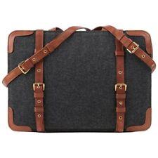 ROBERTA DI CAMERINO c.1976 Gray Wool & Brown Leather Dual Buckle Satchel Purse