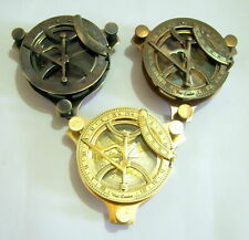 Set Of 3 Solid Brass Sundial Compass Maritime Vintage Marine Working Compass 4''