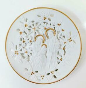 """1993 Lenox Bisque Porcelain """"THE HOLY FAMILY"""" Pierced Plate 24kt Gold Trim NEW"""
