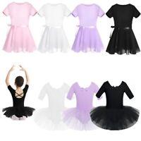 Girls Kids Gym Skate Leotard Ballet Dance Dress Ballerina Tutu Skirt Dancewear