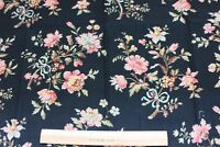 """Antique French c1870 Roses & Ribbons Cotton Fabric Sample~Black Ground~27""""LX32""""W"""