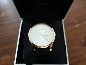 Calvin Klein K2G21629 Analog Quartz Watch with Leather Strap - rose gold