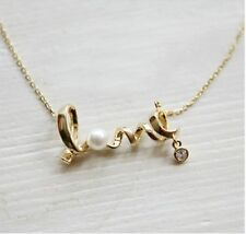 "Valentine's Day ""LOVE"" Letter Choker Pearl Pendant Necklace"