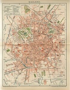 1895 ITALY MILAN CITY PLAN Antique Map