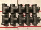 LOT OF (10) 1/2 INCH BLACK IRON GAS PIPE THREADED TEE FITTINGS PLUMBING