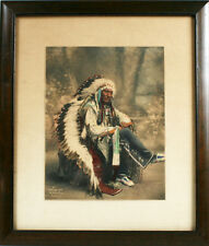 NATIVE AMERICAN 1899 HAND COLORED  OGALLALA SIOUX WAR CHIEF LITTLE WOUND
