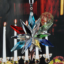 Rainbow Suncatcher Crystal Glass Prisms Star Little Snowflake Ornament Gift