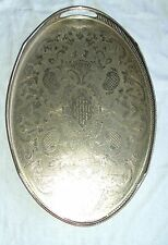 """Oval Silver Plated on Copper gallery Tray Vintage Classic Chased Design 18"""" x 12"""