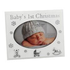 "Bambino Resin Photo Frame 4x6"" Baby's 1st Christmas Snowflakes Icons CG1120"