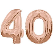 40 Number Balloons Rose Gold 40th Birthday Party Supplies Decorations 100cm 40""
