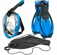 New listing 180° Panoramic View Full Face Snorkel Mask, Snorkeling Fins, Snorkel Set - Blue