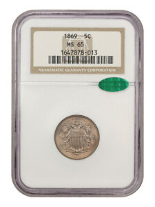 1869 5c NGC/CAC MS65 (OH) - Shield Nickel - Beautiful Golden Tinted Gem