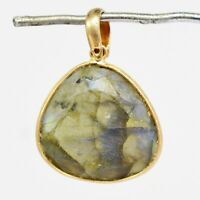 925 Sterling Rose Gold Silver Labradorite Gemstone Pendant 3.83 gms Jewelry