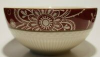 """Pier 1 Ironstone Maribeth Coupe Cereal/Rice Bowl Cream Cranberry Burgundy Red 6"""""""