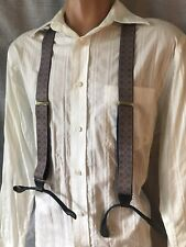 Vintage Men's Suspenders Braces Brass Adjusters Black Leather Purple Gold FUN