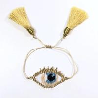 Gold Evil Eye Bracelet MIYUKI  Beads Tassel Bracelets Jewelry Women Handmade
