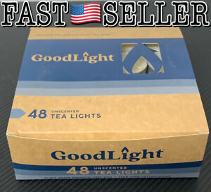 GoodLight Paraffin-Free Unscented Tea Light Candle, Box Of 48 Tea Lights Candles