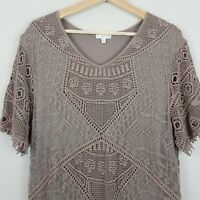 [ W.LANE ] Womens Brown Crochet Lace Dress  | Size AU 16