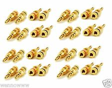 16 PAIR OF High-Quality Gold Plated Speaker Banana Plugs Open Screw Type